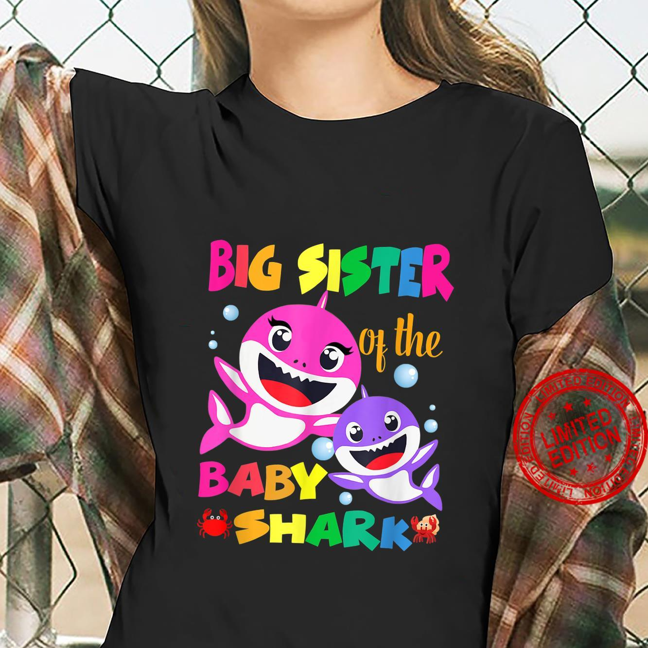 Big Sister Of The Baby Shark Birthday Big Sister Shark Shirt ladies tee