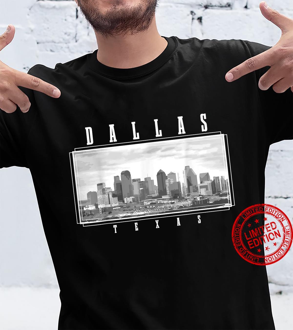 Dallas Texas Skyline Pride Black & White Vintage Dallas Shirt