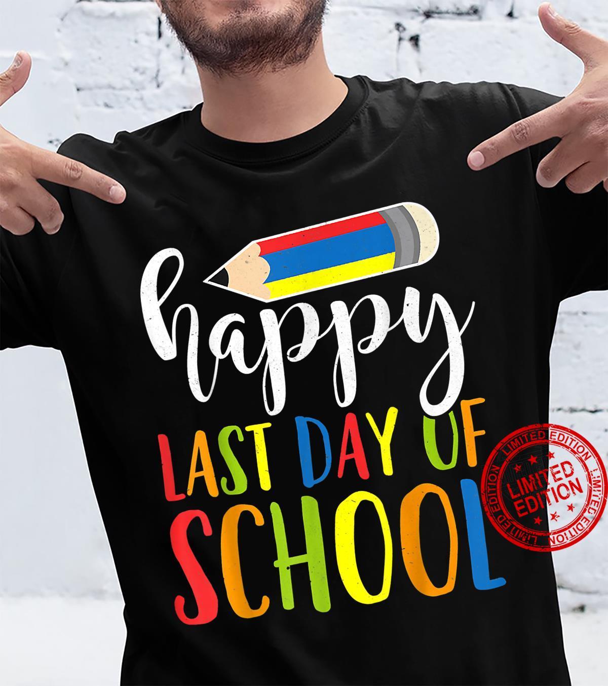 Happy Last Day Of School Crayon Teacher Student Graduation Shirt