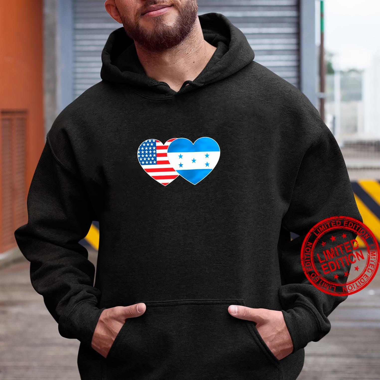 Honduras USA Flag Twin Heart for Honduran Americans July 4th Shirt hoodie