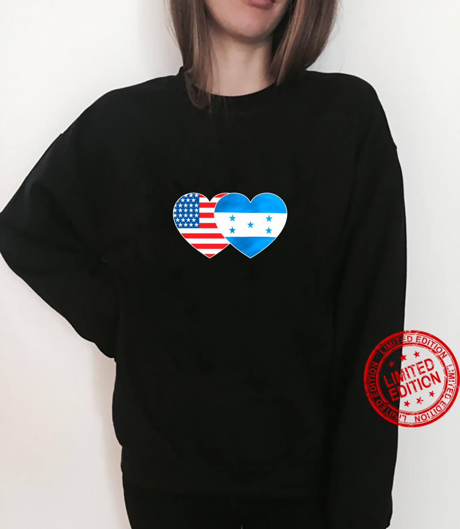 Honduras USA Flag Twin Heart for Honduran Americans July 4th Shirt sweater