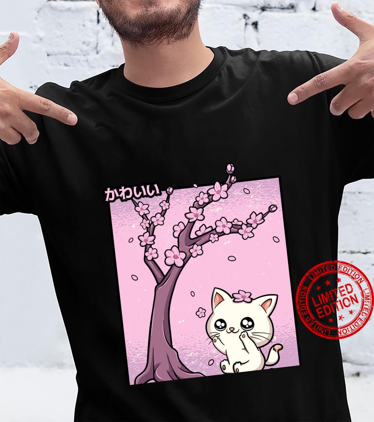 Kawaii Cat Cherry Blossom Anime Kitten Sakura Japanese Kanji Shirt
