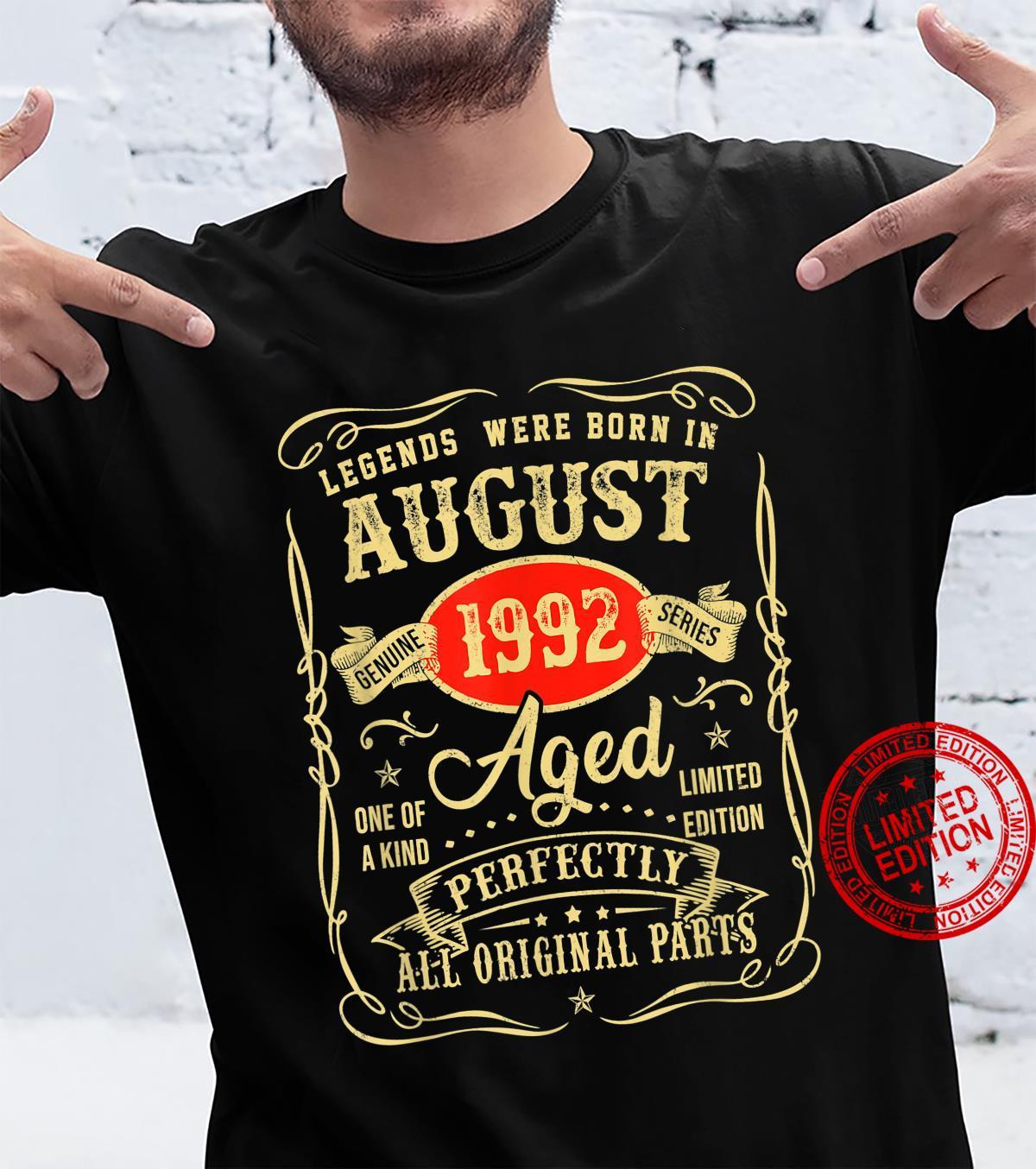 Legends Were Born In August 1992 29Th Birthday Shirt