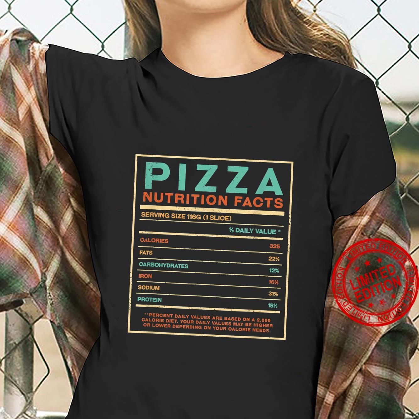 Pizza Nutrition Facts Italian Foodie Italy Food Shirt ladies tee