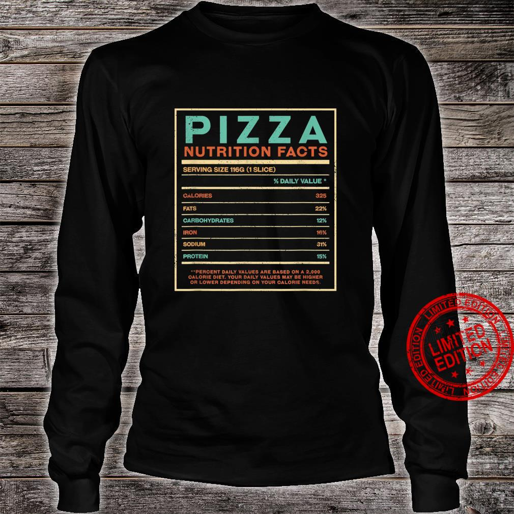 Pizza Nutrition Facts Italian Foodie Italy Food Shirt long sleeved