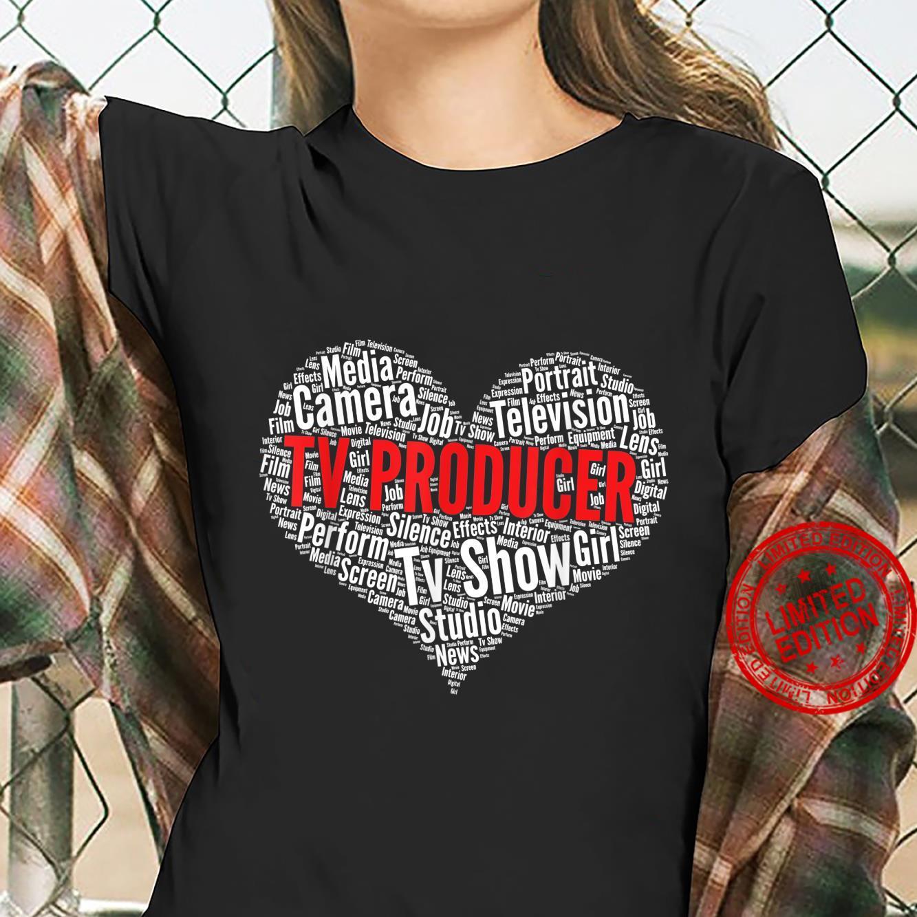 TV producer Heart Shape Word Cloud Design Shirt ladies tee