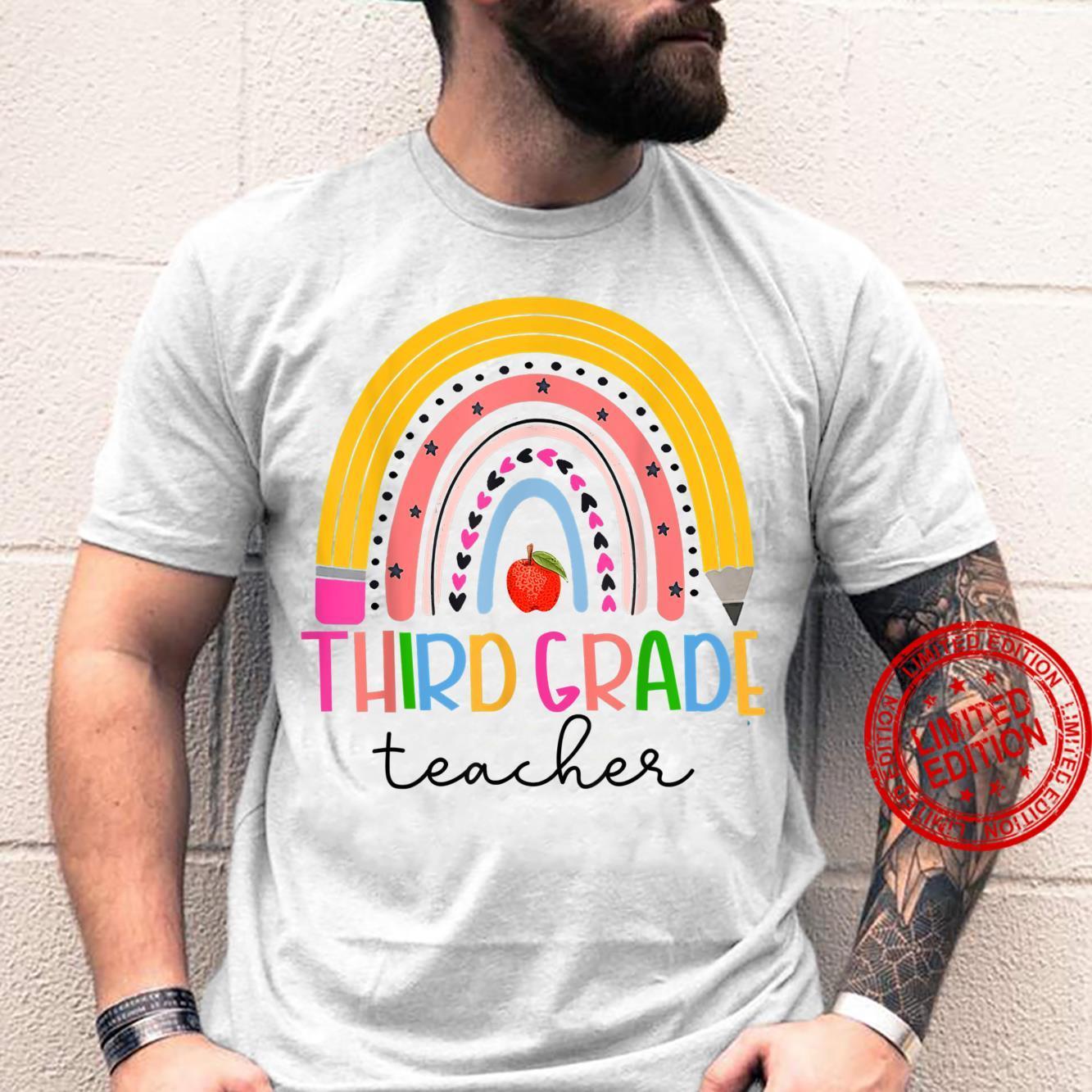 Third Grade Teacher Back To School Boho Rainbow Leopard Shirt