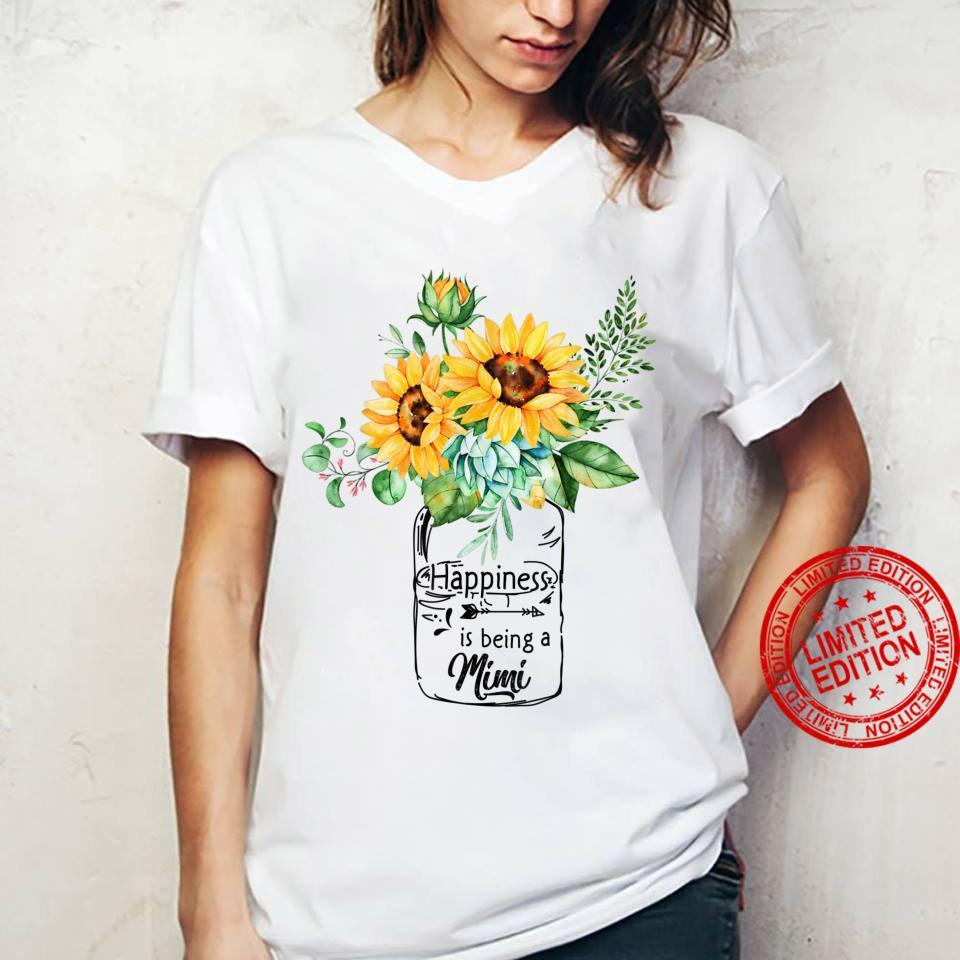 Womens Happiness is Being Mimi Life Sunflower Art Grandma Shirt ladies tee