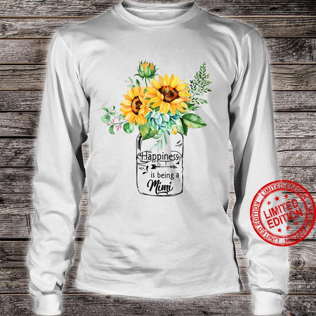 Womens Happiness is Being Mimi Life Sunflower Art Grandma Shirt long sleeved