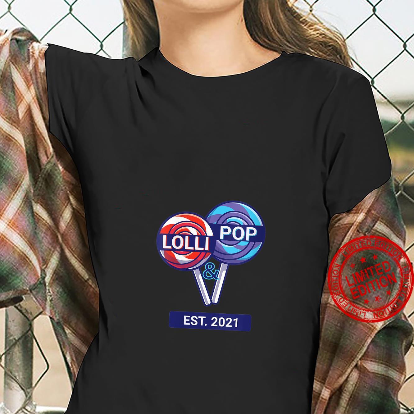 Womens Lolli & Pop EST. 2021 Lolly Pops Couples Grandparents Shirt ladies tee