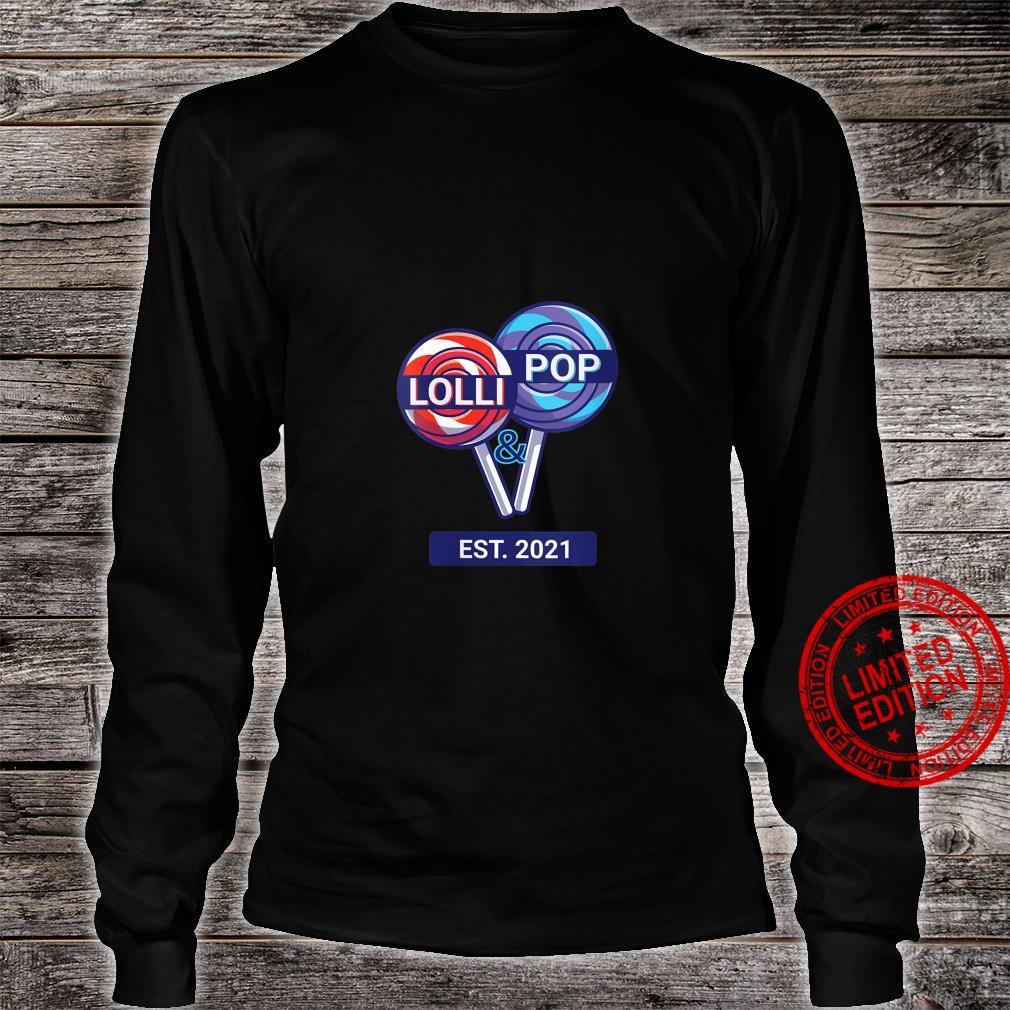 Womens Lolli & Pop EST. 2021 Lolly Pops Couples Grandparents Shirt long sleeved