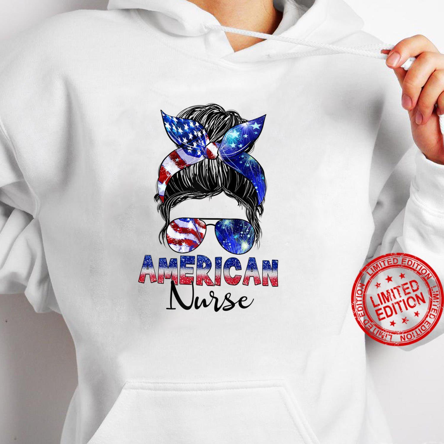 Womens Messy Bun American Flag American Nurse Patriotic 4th Of July Shirt hoodie