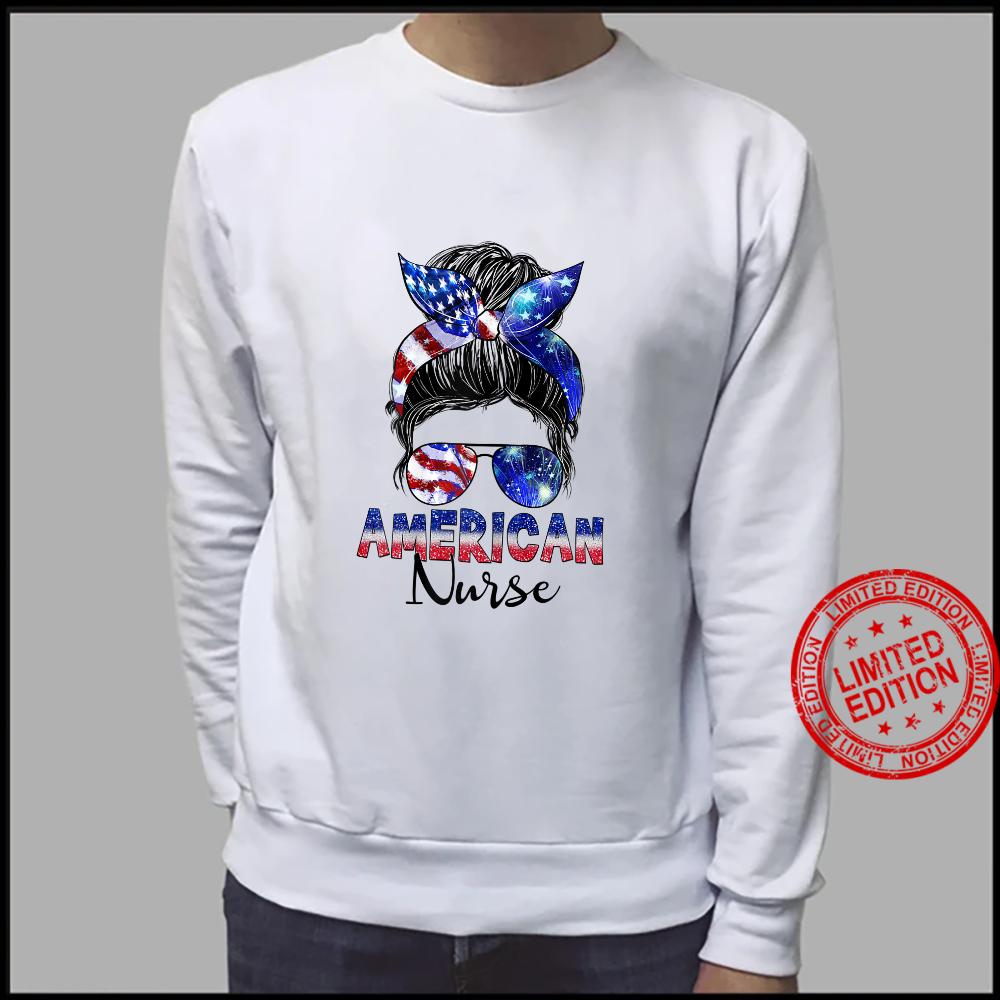 Womens Messy Bun American Flag American Nurse Patriotic 4th Of July Shirt sweater