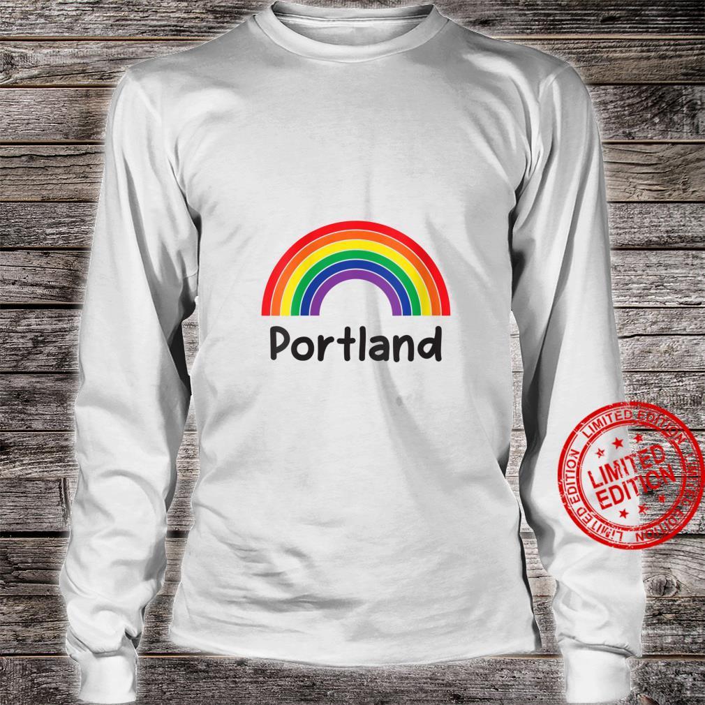 Womens Portland Pride, Retro LGBT Rainbow, Portland Rainbow Shirt long sleeved