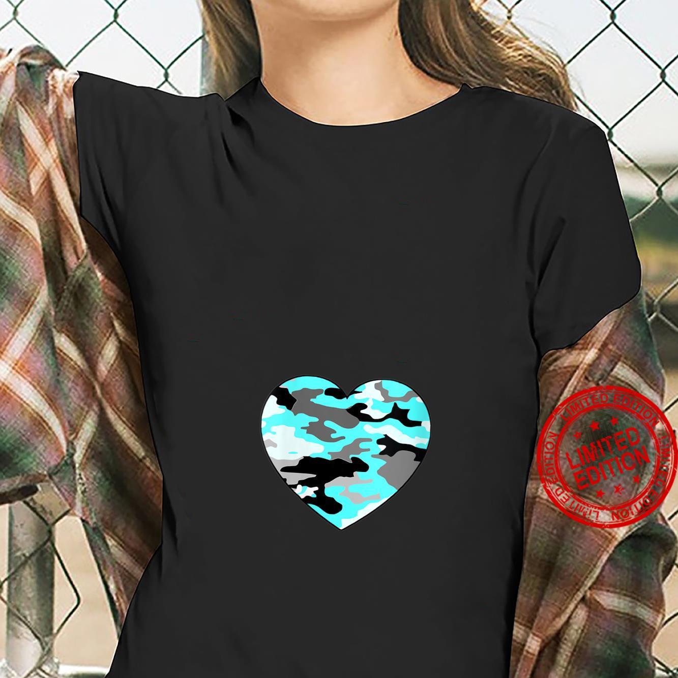 Womens Turquoise Blue White Gray Camo Heart Shirt ladies tee