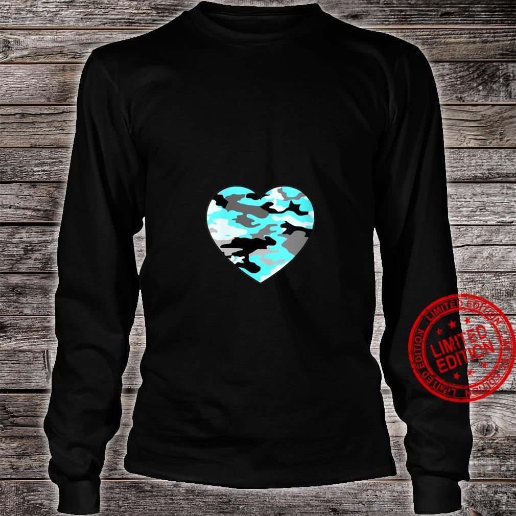Womens Turquoise Blue White Gray Camo Heart Shirt long sleeved