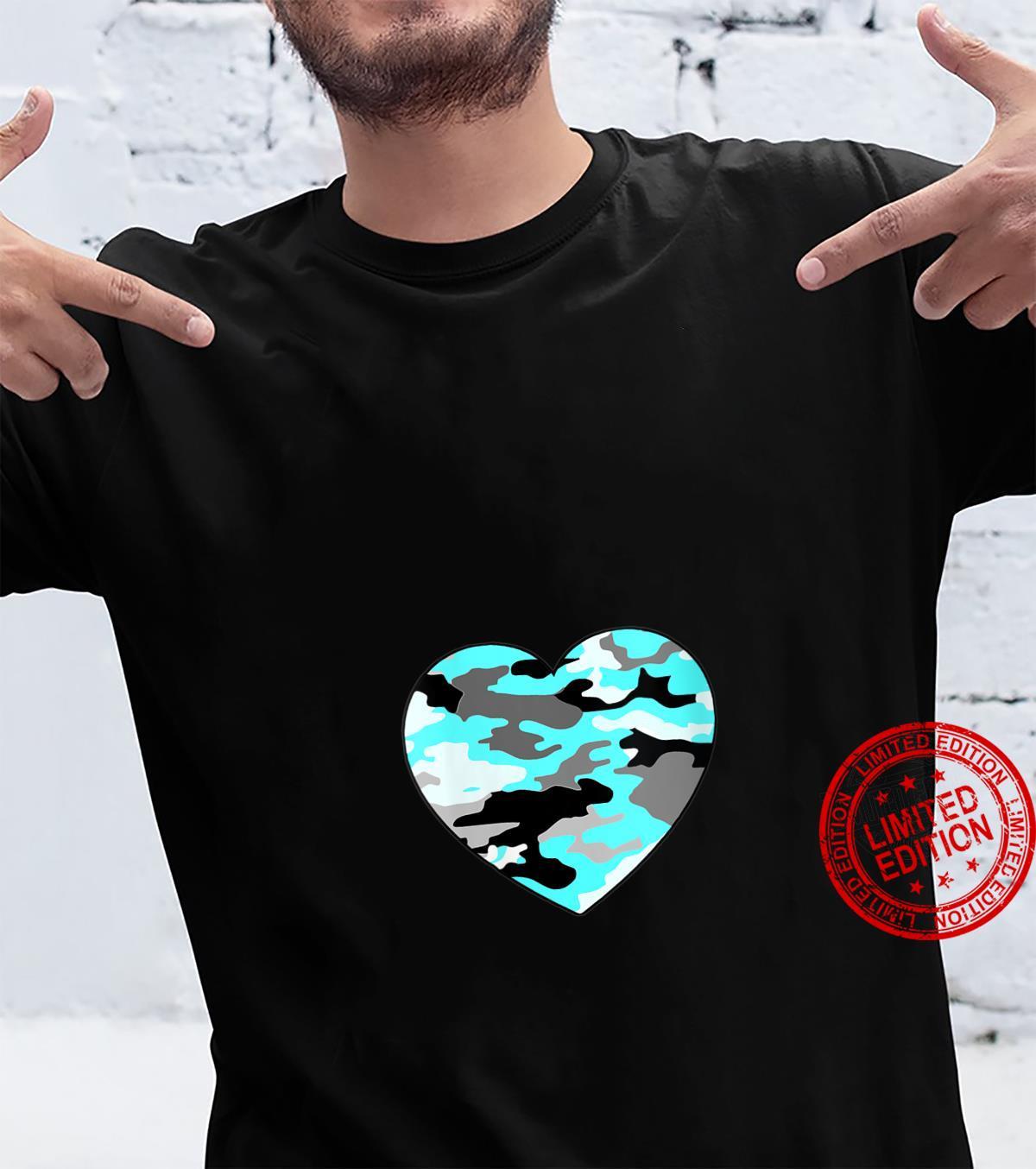 Womens Turquoise Blue White Gray Camo Heart Shirt