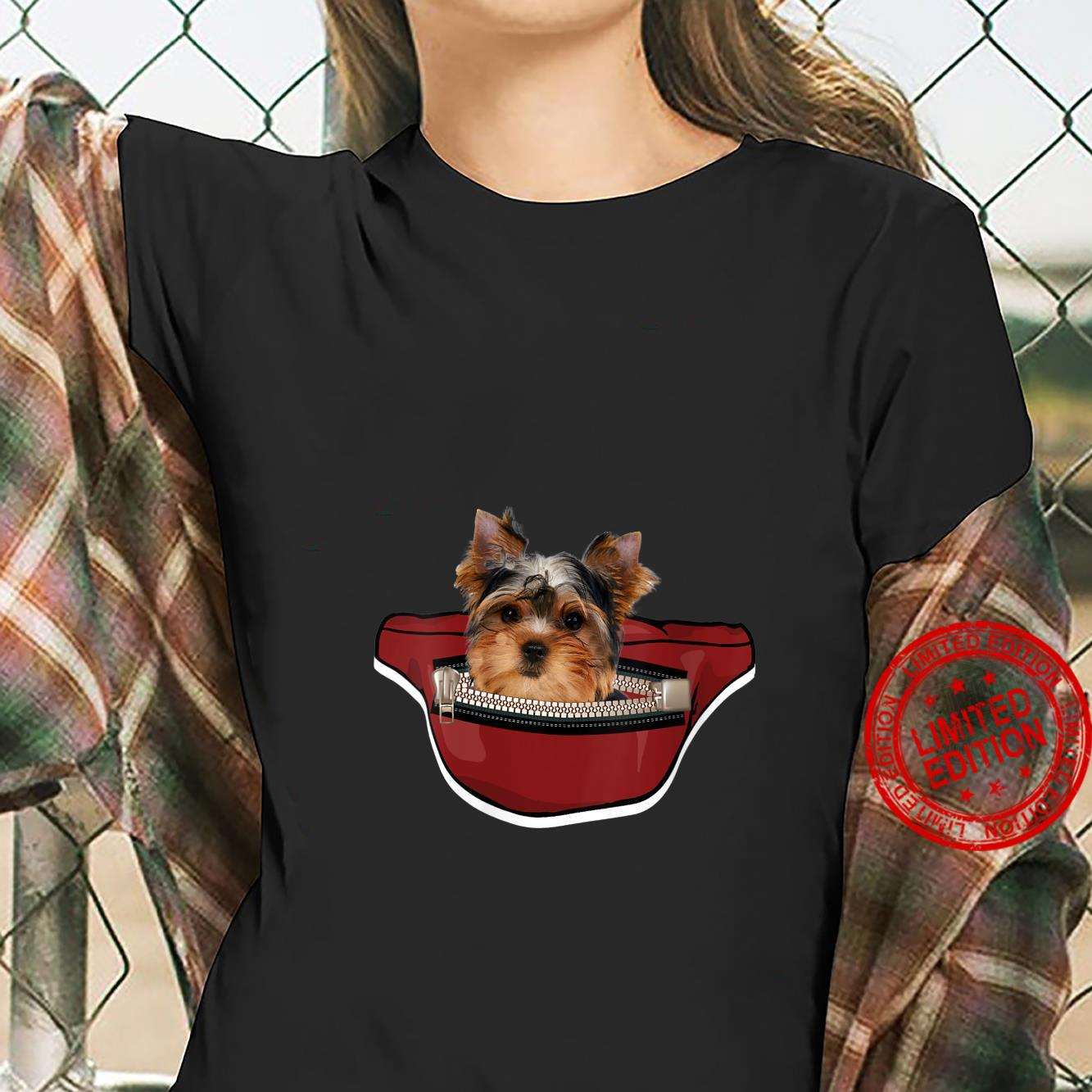 Womens Yorkshire Dog Mini Dog Pocket Design Yorkie Shirt ladies tee