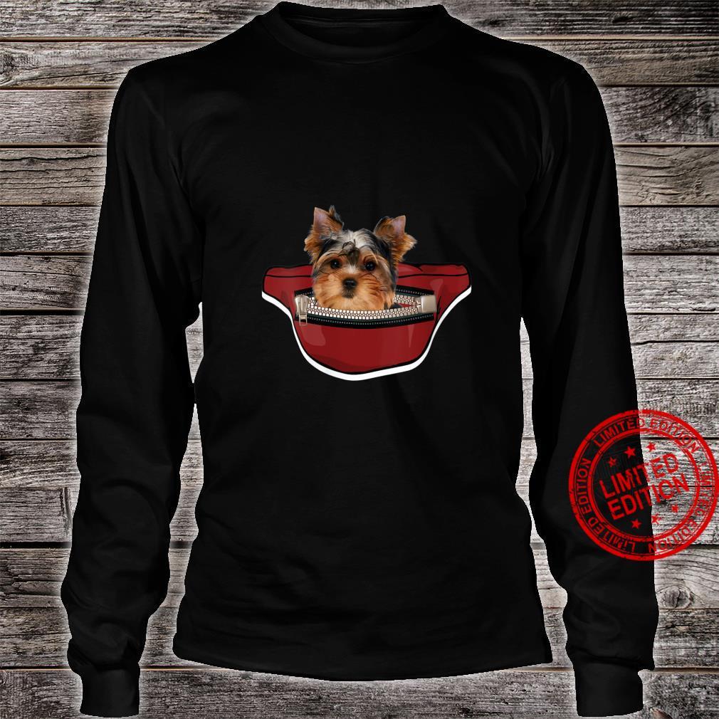 Womens Yorkshire Dog Mini Dog Pocket Design Yorkie Shirt long sleeved