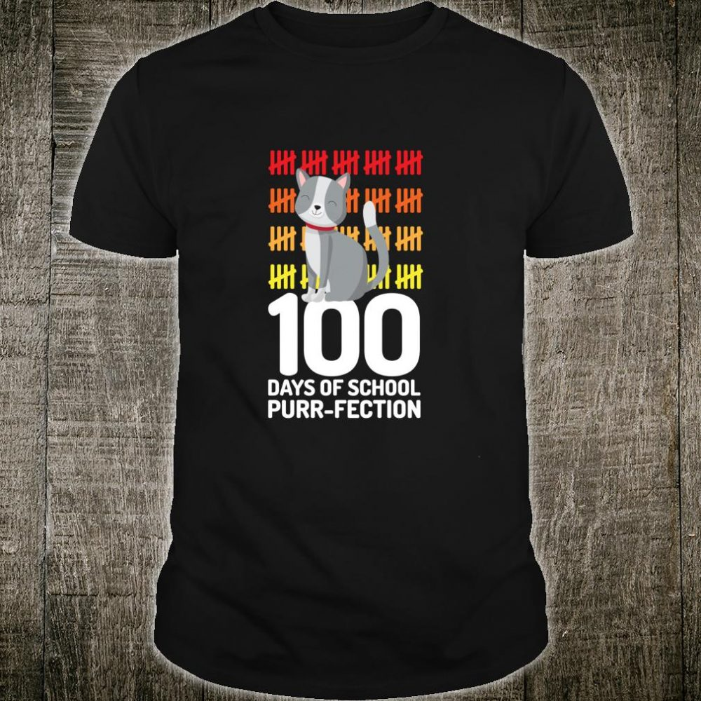 100 Days Of School Cat Pun Perfection Teacher Shirt