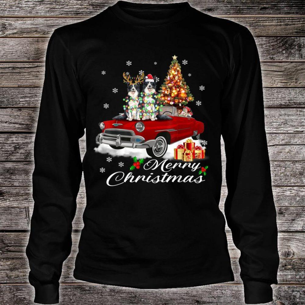 Border Collie on Red Truck Christmas Pajama Dog Shirt long sleeved
