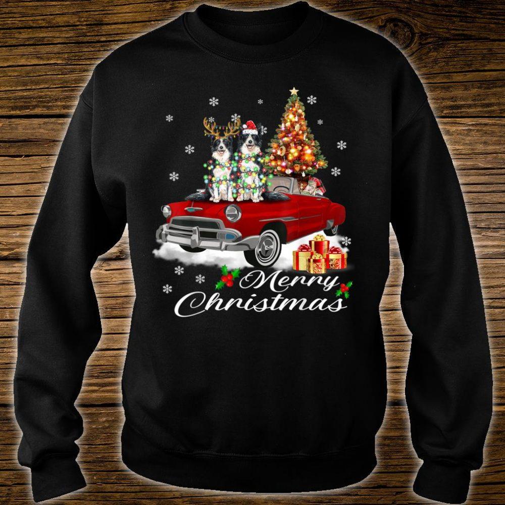 Border Collie on Red Truck Christmas Pajama Dog Shirt sweater