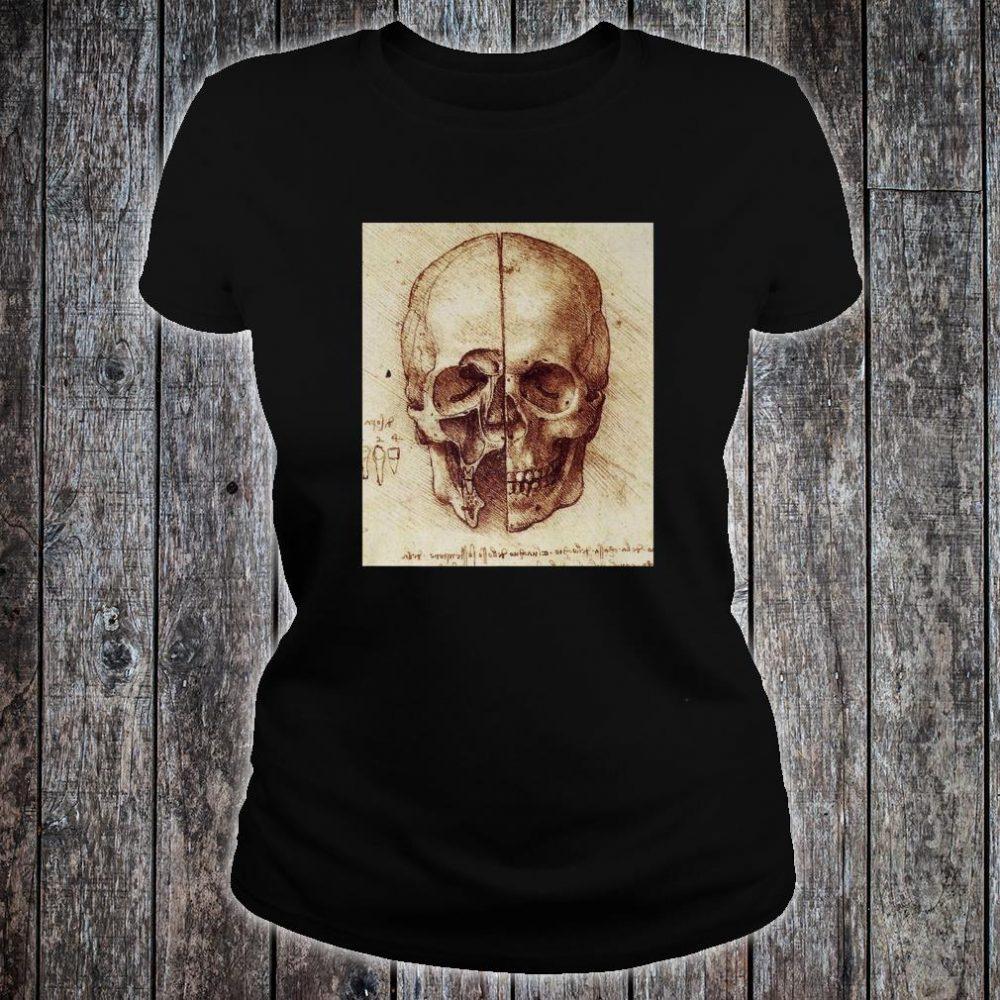 Doctor Idea Skull Drawing by Leonardo Da Vinci Vintage Shirt ladies tee