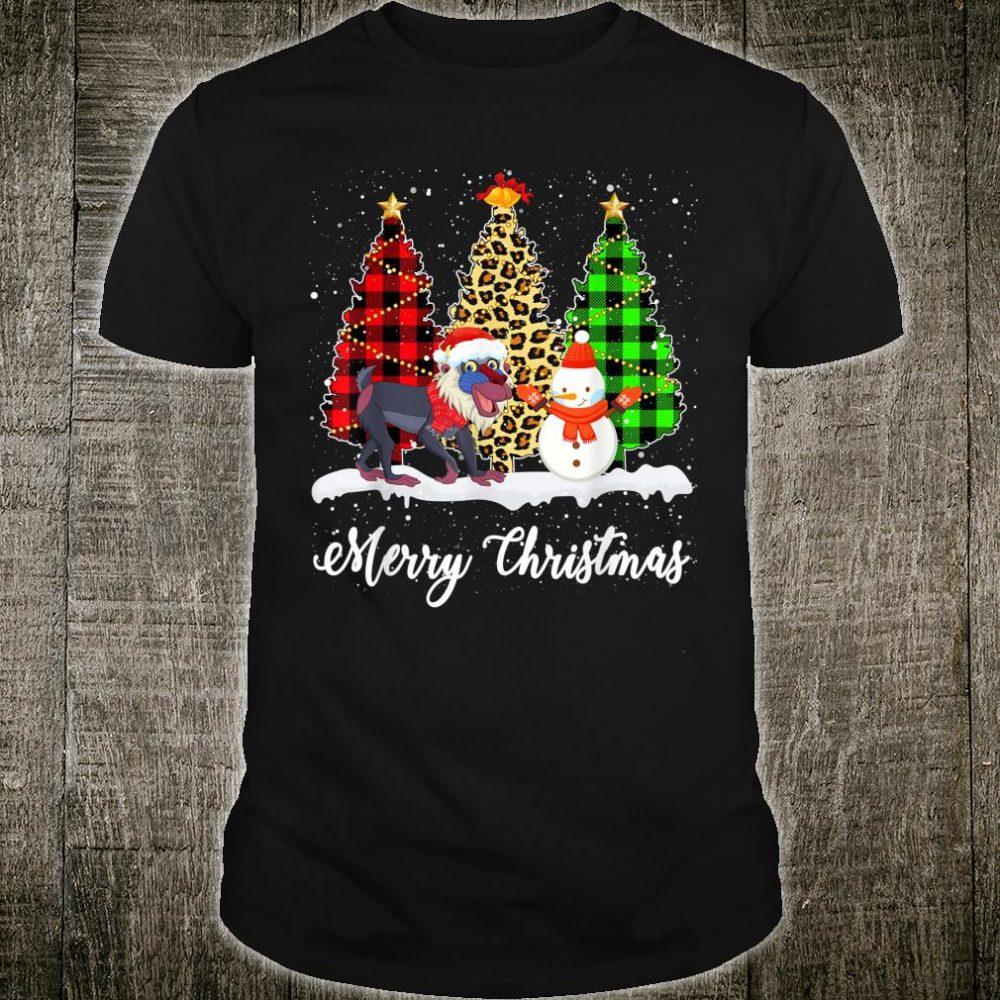Funny Baboon Christmas Tree Leopard Buffalo Plaid Shirt