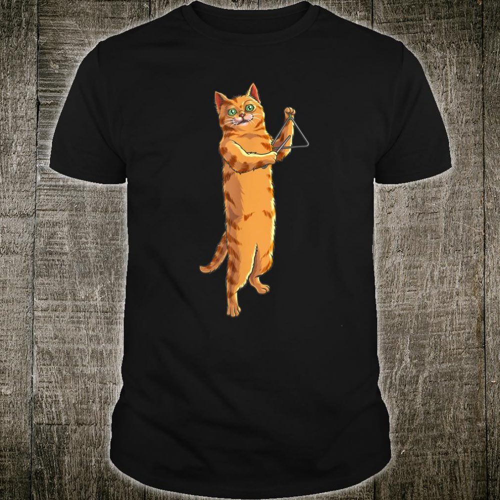 Funny Cat Playing Triangle Cute Kitten Musician Fan Shirt