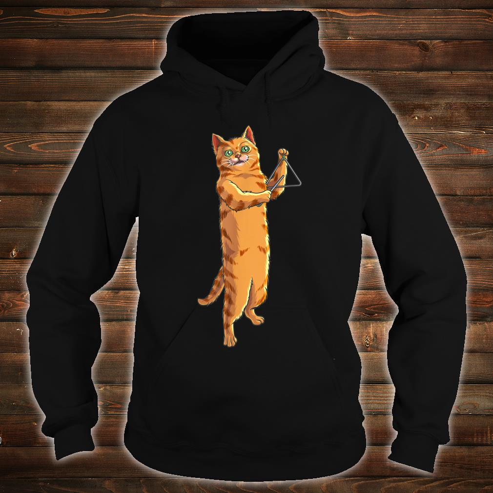 Funny Cat Playing Triangle Cute Kitten Musician Fan Shirt hoodie