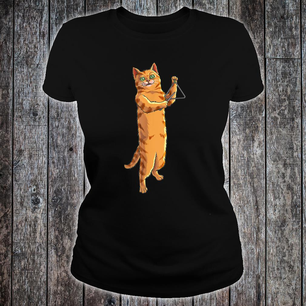 Funny Cat Playing Triangle Cute Kitten Musician Fan Shirt ladies tee