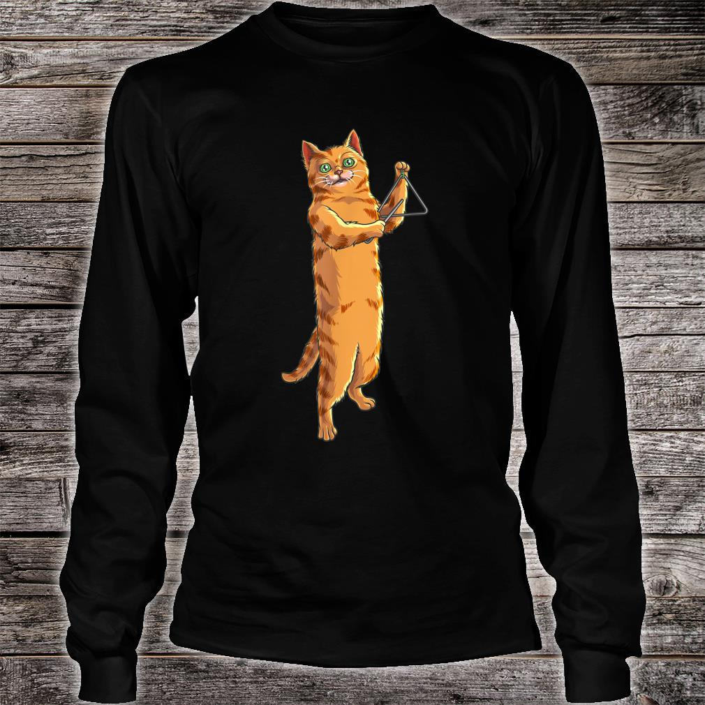 Funny Cat Playing Triangle Cute Kitten Musician Fan Shirt long sleeved