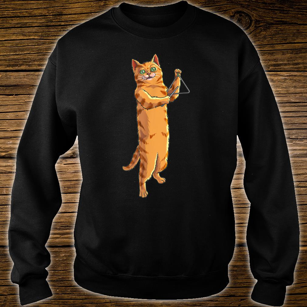 Funny Cat Playing Triangle Cute Kitten Musician Fan Shirt sweater