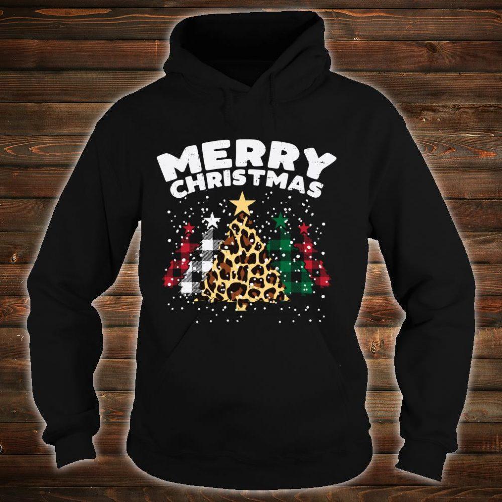 Green Red Buffalo Plaid Leopard Trees Merry Christmas Shirt hoodie