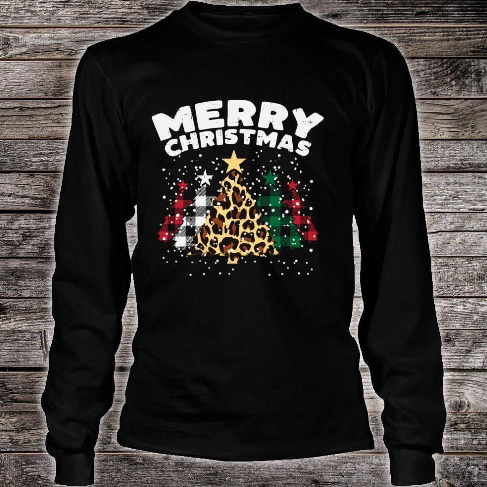 Green Red Buffalo Plaid Leopard Trees Merry Christmas Shirt long sleeved