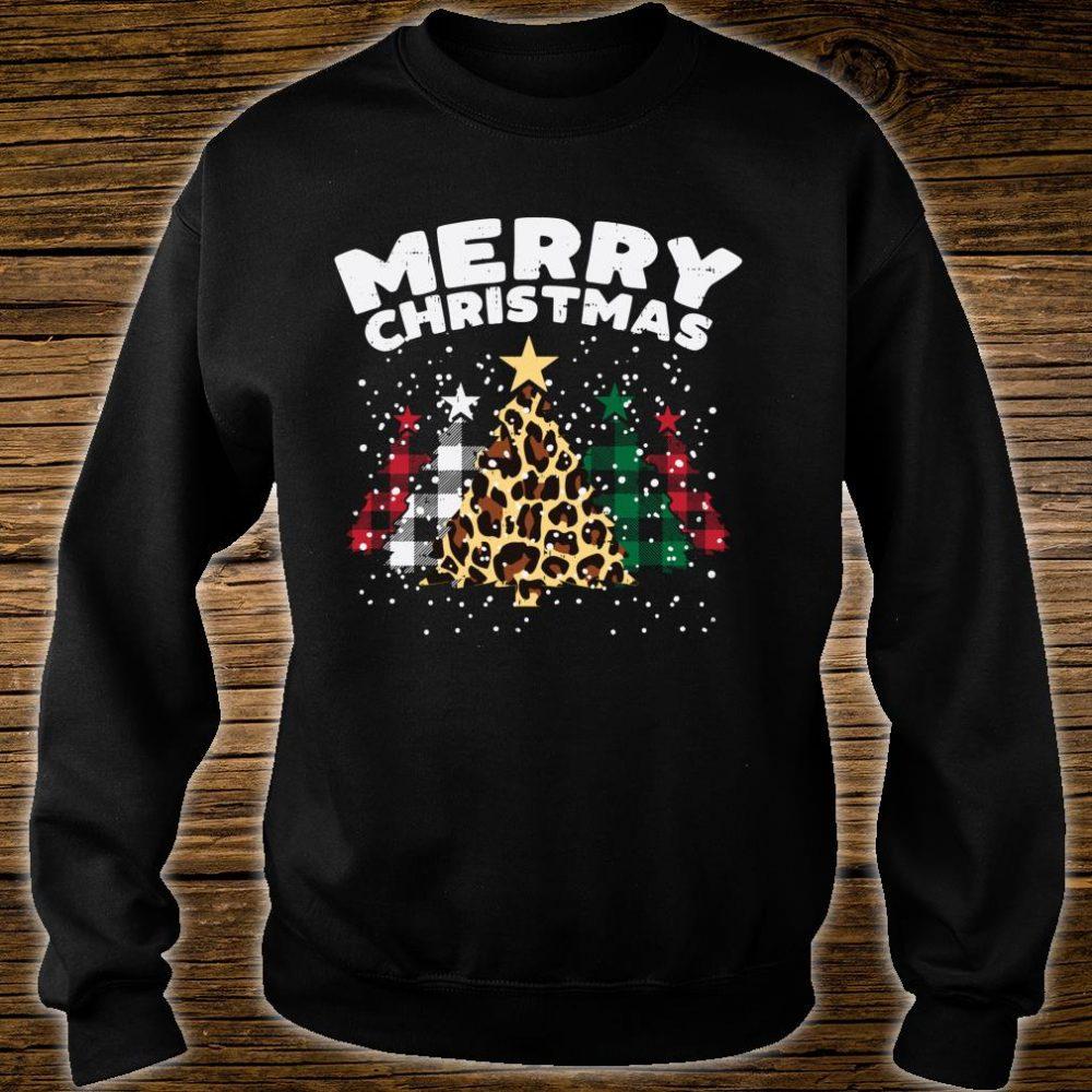 Green Red Buffalo Plaid Leopard Trees Merry Christmas Shirt sweater