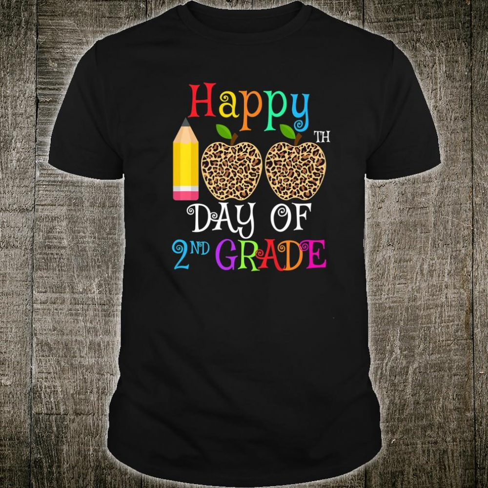 Happy 100th Day Of 2nd grade Leopard teacher students Shirt