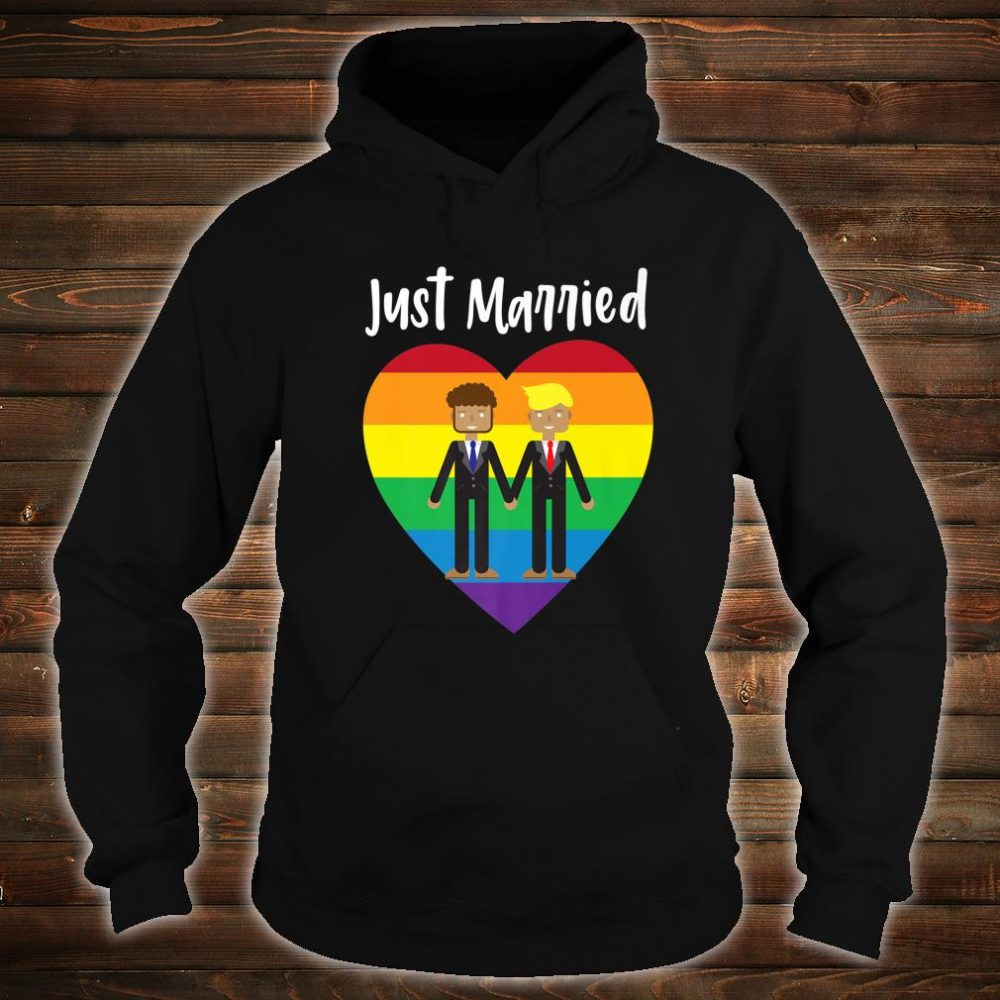 Just Married Gay Couple Just Married Rainbow Heart Print Shirt hoodie