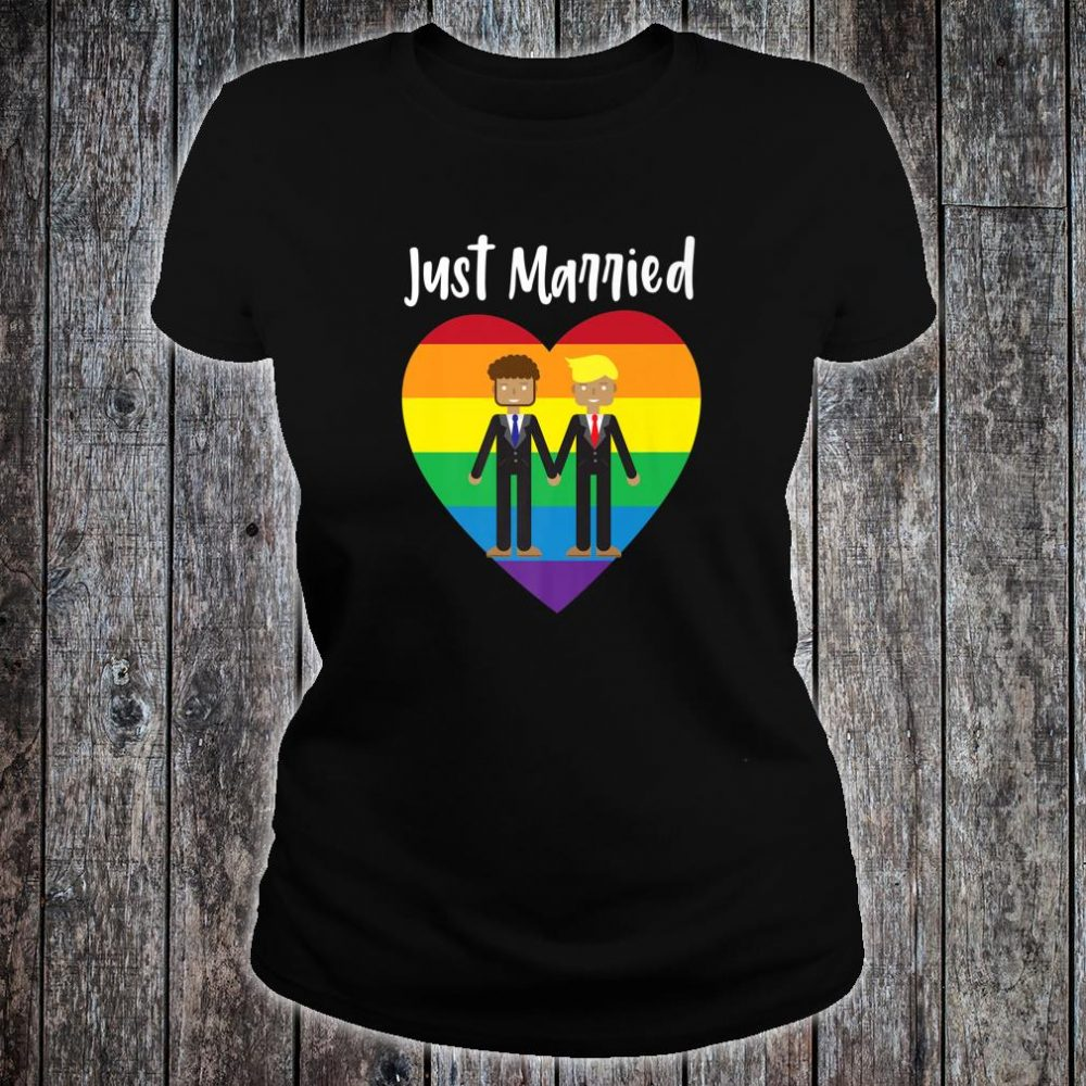 Just Married Gay Couple Just Married Rainbow Heart Print Shirt ladies tee