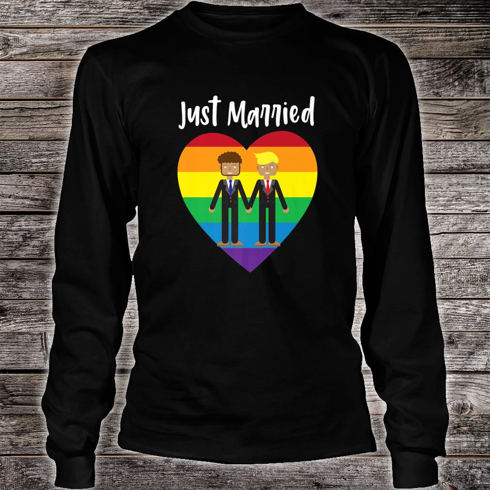 Just Married Gay Couple Just Married Rainbow Heart Print Shirt Long sleeved