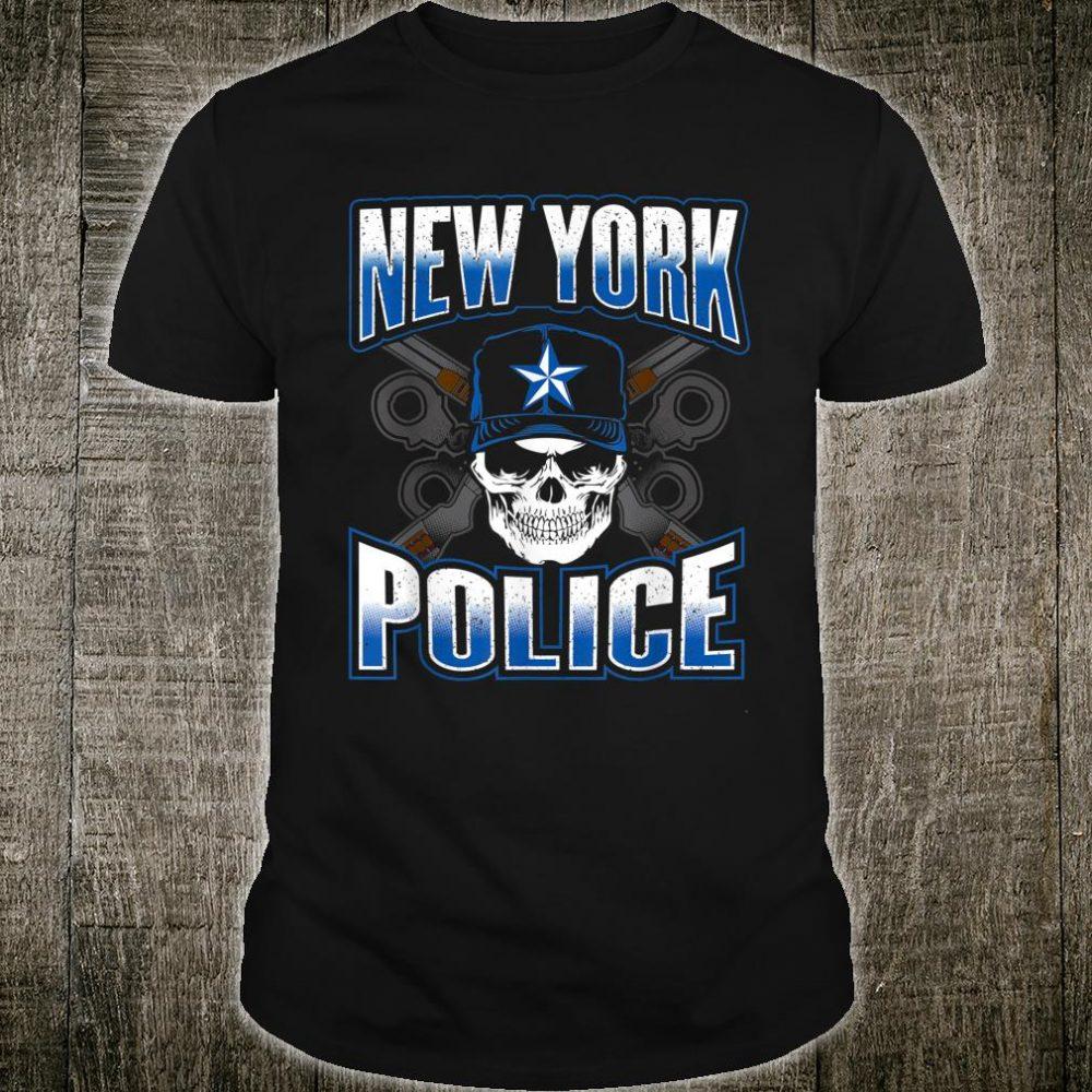 New York Police Department Art Skull Guns Thin Blue Shirt