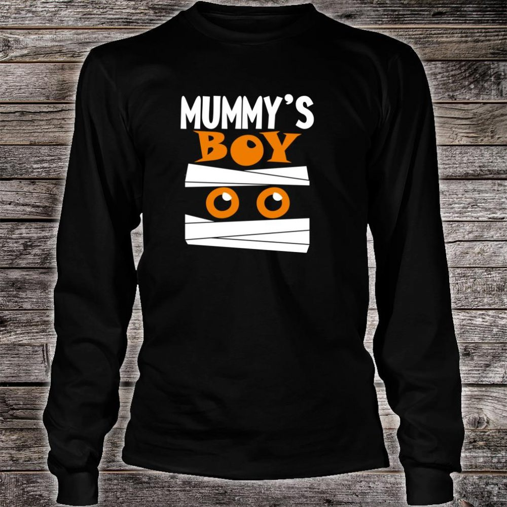 Unique Boys Mummy's Boy Halloween Egyptian Mummy Wrap Face Shirt long sleeved
