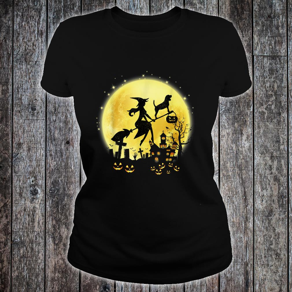 Witch Fly With Beagle Halloween Pumpkin Shirt ladies tee