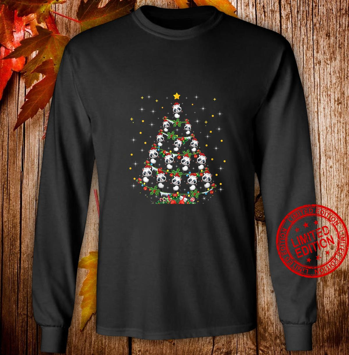 Womens Panda Animal Xmas Panda Christmas Tree Shirt long sleeved