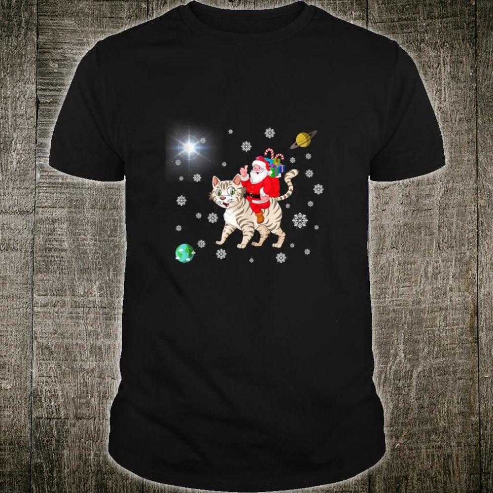 Xmas Gift Santa Claus Riding Cat Cute Shirt
